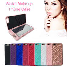 Hot Fashion Luxury Lady Makeup Mirror PC Phone Case Cover for iPhone 5,5S,SE,6,6S,6plus,7,7plus Funda Wallet Card Slot Case(China)