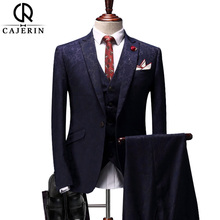 Cajerin Men's Clothing Wedding England Style Men Suit (Jacket+Pants+Vest) Blue Print Blazer Wedding Suits Slim Fit Tuxedos(China)