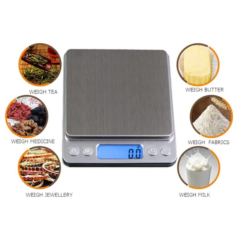 Kitchen Scale Measuring-Tools Digital Electronic High-Precision Stainless-Steel LCD title=