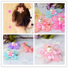 Baby girl Hair Bow Clip multi color floral hair clips with pearl Flower hairpin Children Accessories PHC0441