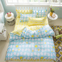 Sookie AB Sides 3/4 Pieces King Size Bedding Sets Egges Chicken Printed Blue Pink Duvet Cover Pillow Cases Flat Sheet Bed Linen
