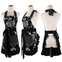 1Pcs Luxury Black Flower Dots Apron Woman Adult Bibs Home Cooking Baking Coffee Shop Cleaning Aprons Kitchen Accessories 46041(China)