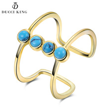 Vintage Turquoises Geometric Double Open Ring Female Blue Small Kallaite Crystal Knuckle Gold Finger Ring Women Party Jewelry