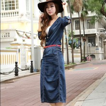 New Vintage Fashion Ladies' denim dresses,Classic women's denim dress casual jeans wear dress free shipping M1068(China)
