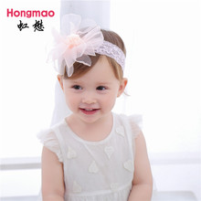 ON SALE 1PCS Children's hair accessories baby flower lace headband fur ball elastic hair band photo props head band(China)