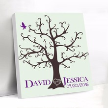 Fingerprint Tree Guest Book with Name Date Baby Shower Signature Guest Book Custom Canvas Guest Book Wedding Gifts(China)