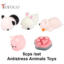 TOFOCO 5pcs Unisex Anime New Antistress Animal Toys Funny Gadgets Panda Paw Squeeze Toy Novelty Shocker Gags Practical Jokes