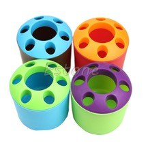 Cute Multi-functional Porous Desktop Pen Container Toothbrush Toothpaste Holder office desk accessories