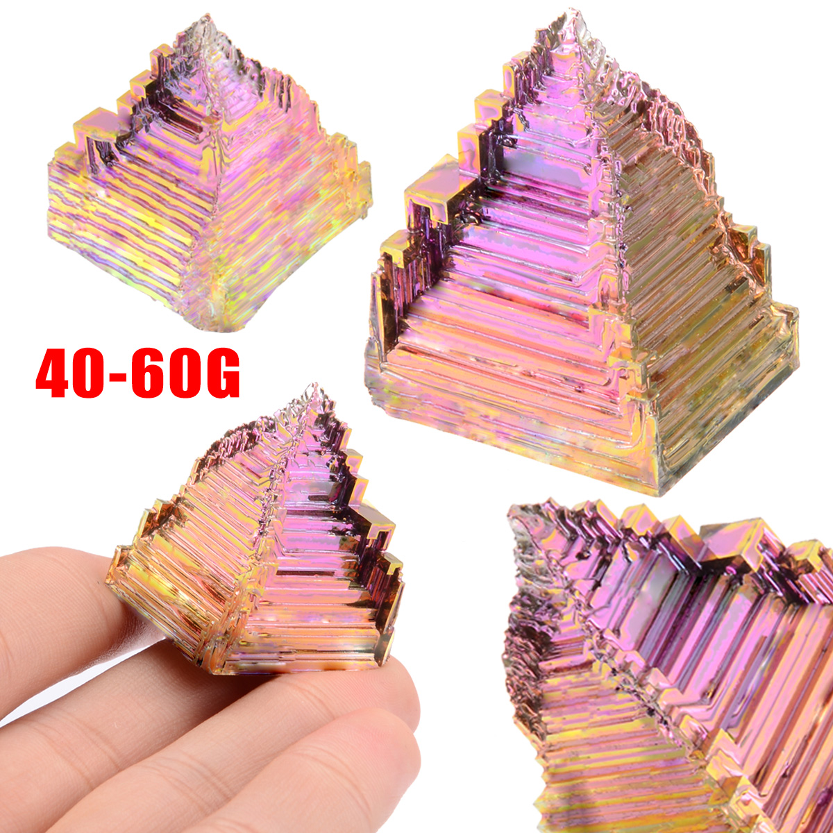 40-60g Colorful Bismuth Crystals High Purity Bismuth Metal Crystal Specimen For Bismuth Crystals High Quality