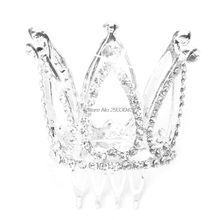Mini Women Girl Rhinestone Crown Bridal Tiara Hair Comb Pin For Wedding Party -W128(China)