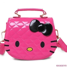 Hot new arrival Hello Kitty girl's princess Sequins bag wallet purse portable messenger children handbag(China)