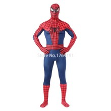 Custom Made Blue/Red Lycra Full Body Zentai Suit Spandex Superhero Spiderman Halloween Cosplay Bodysuit Costume