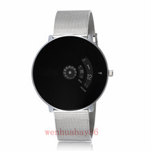 New Men Women Silver Top Brand Black Dial Quartz Wrist Watch Turntable Hour Analog Good Quality Gift Q5008