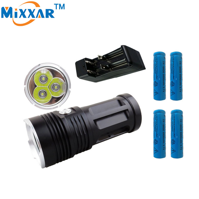 zk30 6000LM 3x Cree XM-L T6 led beads MI-3 Torch tactical flashlight Lantern with 4x18650 5000mAh battery and one charger<br>