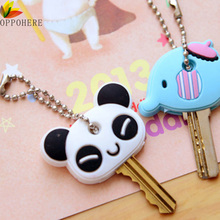 OPPOHERE New Face key cover Cartoon Keychain Jewelry Head Anime Silicone Key chain ring holder porte clef