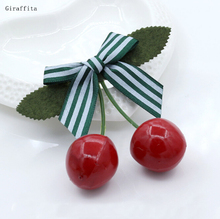 2017 Fashion Cherry Butterfly Hair Ornaments Women Bangs Hairpin Word Hair Clip Folder Jewelry Headdress(China)