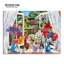 ZOOYA Diamond Embroidery DIY Diamond Painting Windows Flower Landscape Diamond Painting Cross Stitch Rhinestone Decoration CJ584