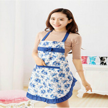 New Convenient Women's Waterproof Housewife Kitchen Waist Aprons Jeanette Waterproof Floral Cloth Household Cleaning Protecter(China)