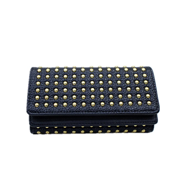 UNstyle Cool Personality Rivets Wallets 2017 New European and American Fashion Large Capacity Purse Multi-card Wallets QB022(China (Mainland))