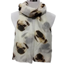 Feitong Women Voile Long Cute Pug Dog panda pattern Print Scarf Wraps Shawl Soft Scarves Accessories 9 colours 190*80cm(China)