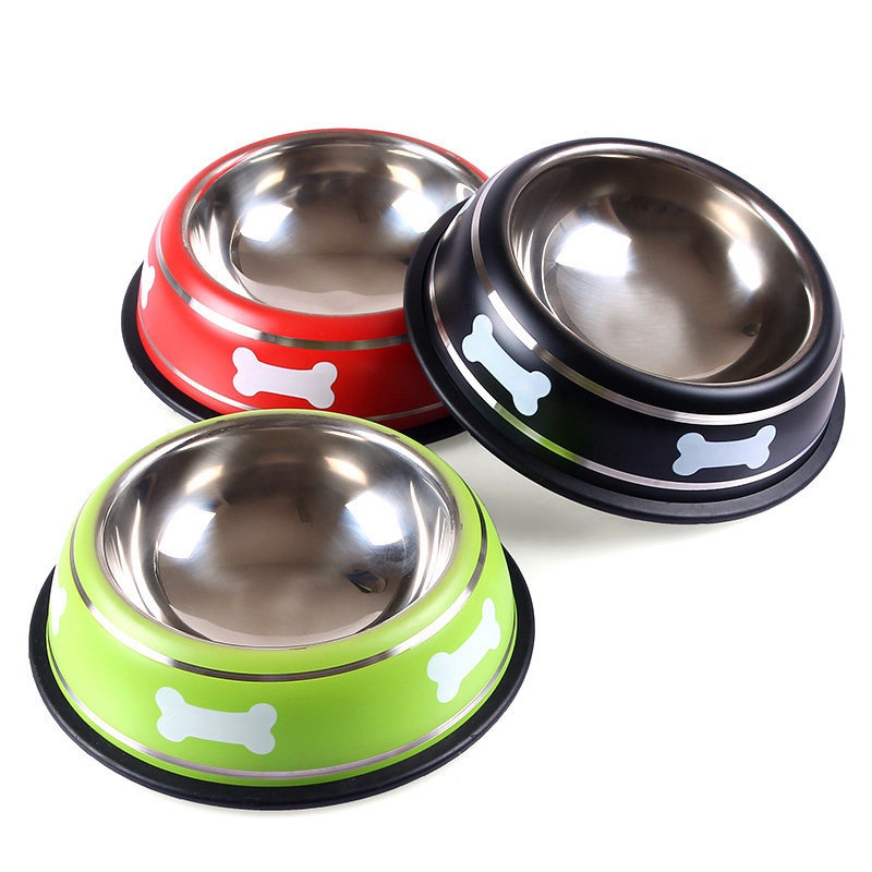 Pet Bowl Bone Printed Stainless Steel Dog Bowls Puppy Cat Food Container Small Dogs Water Feeder for Poodle Teddy 3 Colors(China (Mainland))