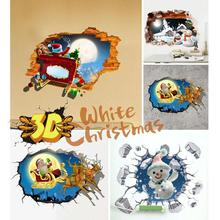 3D Wall Stickers Christmas Decorations For Home Santa Stickers Vintage Poster Decals Wall Stickers For Kids Room Accessories S3