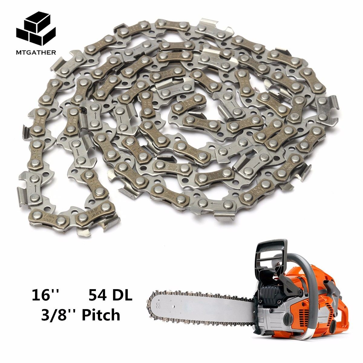 MTGATHER Substitution Chainsaw Saw Mill Chain Blade 16'' 54 Drive Link 3/8'' Pitch 050 Gauge Wood Cutting Chainsaw Parts