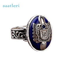 saatleri 2017 Vintage Black Ring Alloy Jewelry Unusual The Vampire Diaries Damon Stefan finger Family Crest RING Fashion Rings