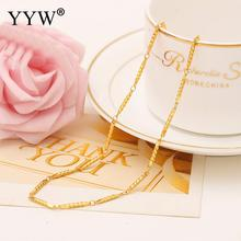 Fashion 24k Gold-Color Necklace Chain For Women Bar Chain Gold Filled Chain Necklace Jewelry Party Daily Wear Women's Gift