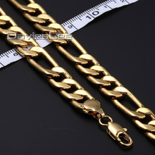 Fashion Gift Boys Mens Chain Gold Filled Jewelry 10MM Womens FIGARO LINK Necklace Party Daily Wear DLGN59(China)