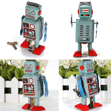 Vintage Mecánica Clockwork Wind Up Toys Radar Walking Robot Tin Toy Retro Vintage Niños Juguetes Para Niños de Regalo Con Clave(China)