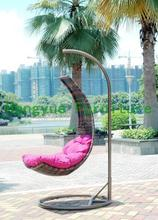Patio brown rattan hanging chair,outdoor wicker hanging chair