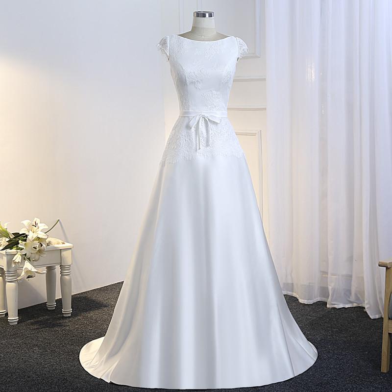 Vestido De Noiva Simples Lace and Satin Wedding Dress 2018 Cheap Bride Dress Illusion Back Floor Length Robes De Mariage 4