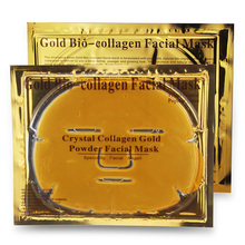 10pcs/lot Gold Bio-Collagen makeup Face Mask Anti-aging mask to face Crystal Gold Powder Collagen Facial Mask Moisturizing(China)
