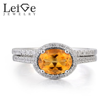 Leige Jewelry Natural Citrine Ring Citrine Promise Ring Oval Cut Yellow Gemstone Solid 925 Sterling Silver Bridal Sets for Women(China)