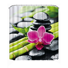 Polyester Waterproof Shower Curtain Bathroom Decor Bath Curtain with Hooks Coconut Tree/Bamboos/Fall Trees/Animal/Buddha