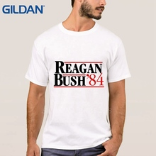 Reagan - Bush '84 Old School Political T-Shirt Men's Casuals Jersey O Neck Hipster TShirt 100% Cotton On Sale Euro Size(China)