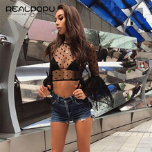 Realpou 2017 Summer O Neck Butterfly Long Sleeve Secy Mesh Crop Top Vogue Dot T Shirt Women Kawaii Black Lace T-shirt Japan