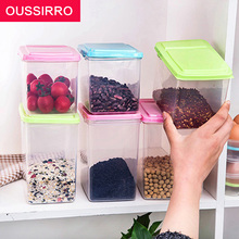 OUSSIRRO 1pcs kitchen half flip cover food storage box airtight plastic containers sealing cans for coarse cereals color random