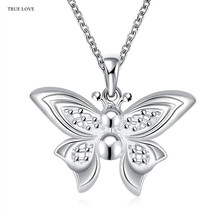 Hot brand design silver butterfly pendant necklace fashion jewelry beautiful lovely gift for woman Top quality Factory Outlet
