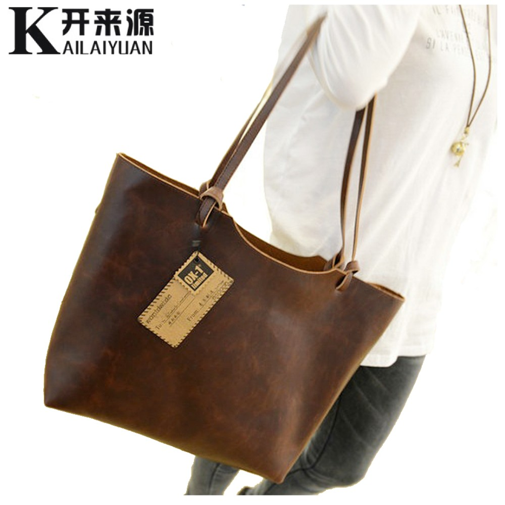 100% Genuine leather Women handbags 2017 New design women handbags vintage women shoulder bags large tote brown women bags(China (Mainland))