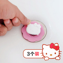 3pcs/set Sanrio Hello kitty bathroom floor drain cover kitchen sink filter(China)