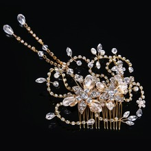 Newest Luxury Classic Crystal Glass Hairwear for Women Crystal beads Female Hairpin alloy Jewelry Pearl Hair Stick FS056(China)