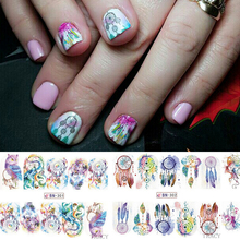 1pcs 12 Design Windmill/Owl/Feather Nail Art Water Transfer Sticker Manicure Polish Full Decals Tip Nail Decorations TRBN301-312(China)