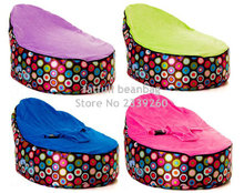 COVER ONLY, NO FILLINGS - Beautiful Colorful Dots Infant Bean Bag Baby Portable Beanbag Chair No beans(China)