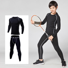 Kids boys sport training suit compression sets workout clothes elastic quick-drying basketball football jerseys(China)