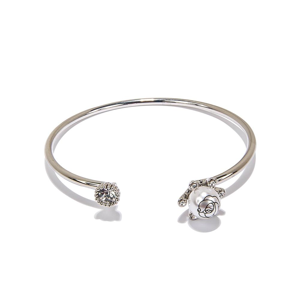 Trinket Sea Fashion Women Cuff Bracelets Jewelry Luxury Faux Pearl Ball  Bead With Flower Drawing Free
