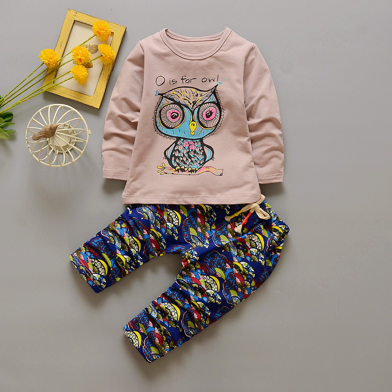 Kids Clothing set 2017 Children Owl pattern Clothe...
