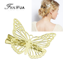 FANHUA 1 pcs Fashion Hair Jewelry Gold-Color  Butterfly Clip Hairpins New Coming Hairwear Wedding Hair Accessories for Women