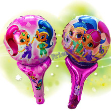 10pcs Cartoon Shimmer shine party supplies lovely girl princess birthday Party foil balloons hand hold stick inflatable toy gift(China)